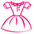 Vector set of cartoon clothes. Dresses, shirts and pants. outline